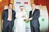 Adnan Ahmed Yousif, President and Chief Executive Officer of Al Baraka Banking Group receiving the Islamic Banker Of The Year 2009 from H.E Rasheed M. Al Maraj, Governor, Central Bank of Bahrain